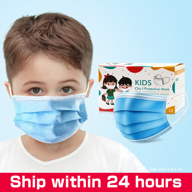 10pcs/50pcs High-quality disposable 3 layers Non-Woven safe mask filter kids mouth mask ear hanging breathable child face masks