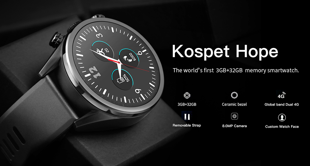Waterproof kospet Hope 3GB Smart Watch with 8MP Camera including Google play store and GPS Map waterproof for men available for Android ios 8