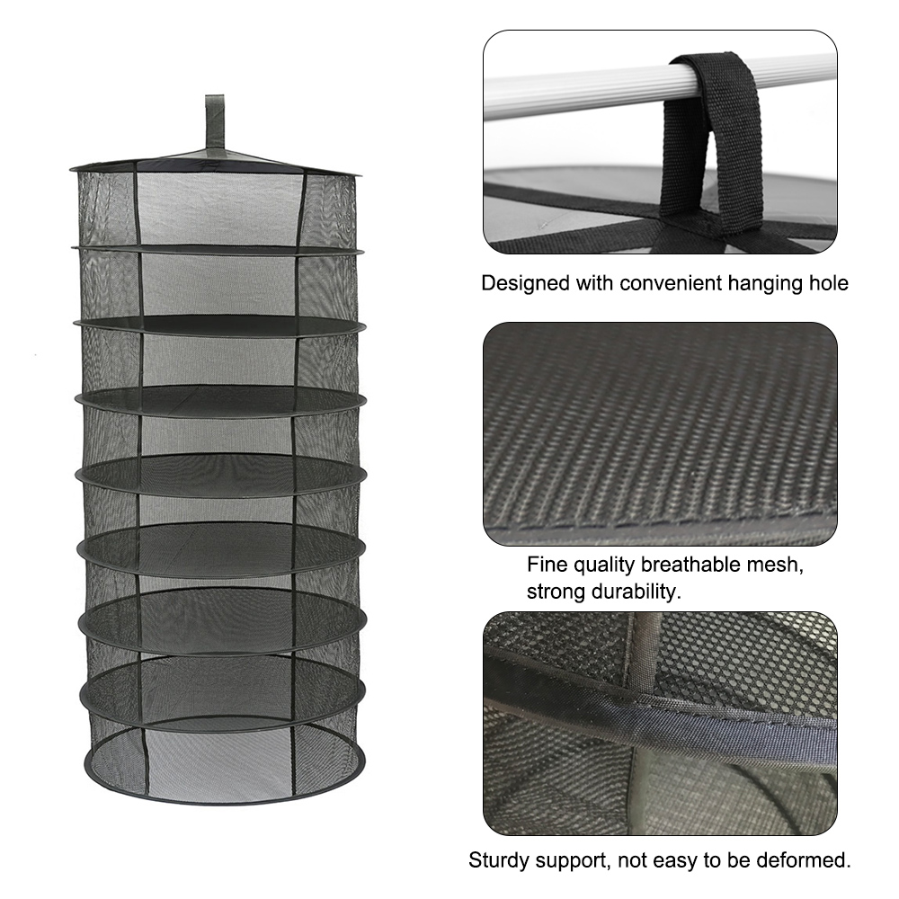 For Herbs Flowers Buds Plants 8 Layers Hanging Basket Folding Drying Rack Herb Dry Net Opening Shape Dryer Bag Mesh with Zipper