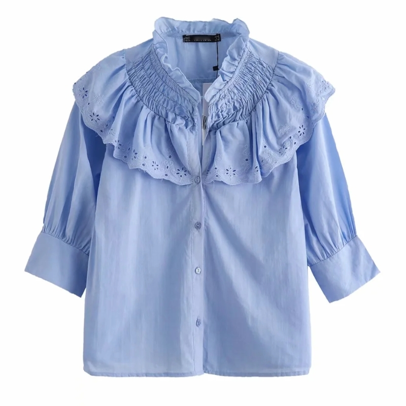2020 Women Stand Collar Cascading Ruffles Casual Smock Blouse Ladies Hollow Out Embroidery Solid Shirts Chic Blusas Tops LS6580
