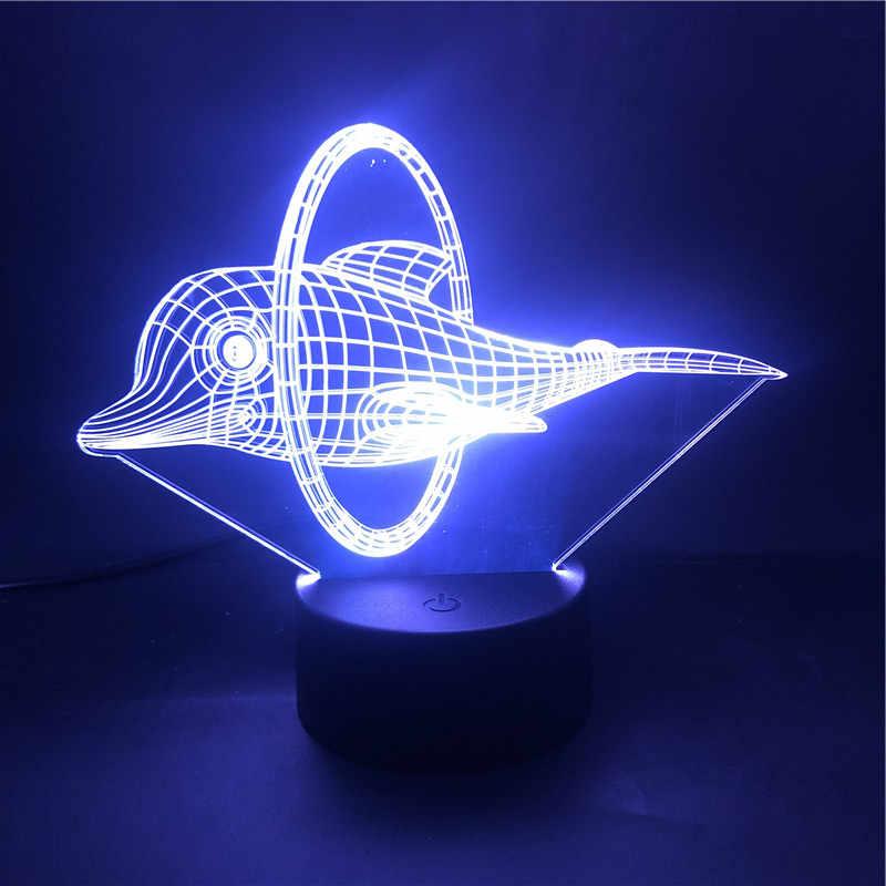 Mỡ Động Vật Cá Heo Mũi Khoan Trong Vòng 3D Đèn Khí Quyển Xinh Xắn 7 Màu Có Remote Đèn Ngủ LED Đèn Trong đồng Hồ Báo Thức Căn Cứ