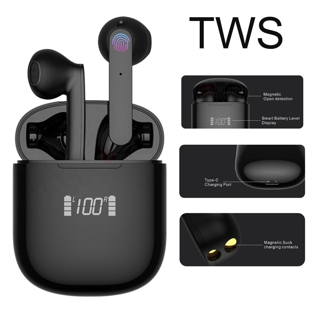 Tws controle de toque fone de ouvido bluetooth 5.0 fones esportes runing alta fidelidade 9d baixo estéreo binaural chamada fone com microfone para o telefone