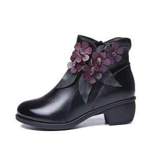 Image 2 - 2020 botas de inverno botas femininas vintage couro genuíno sapatos de salto baixo sapatos de dedo do pé redondo moda senhoras tornozelo botas para mulher