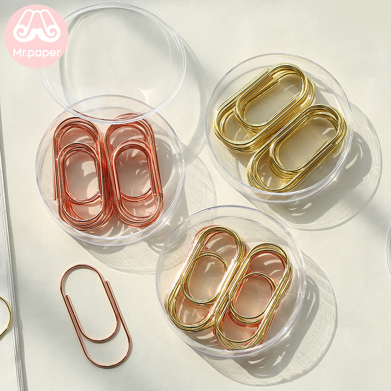 Mr.Paper 20 Pieces Paper Clip Set Gold And Rose Gold  Metal Paper Clip Bookmark Message Card Notes Page Holder Bookmarks Storage