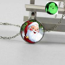 2019 new charm Santa Claus luminous glass necklace Christmas gift fluorescent jewelry fashion christmas gold jewelry set santa claus necklace bracelet earring ring jewelry sets gift for christmas day 2019 new