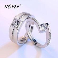 NEHZY-Anillo de boda de Plata de Ley 925 con zirconia cúbica, anillo abierto de compromiso con zirconia cúbica, para mujeres y hombres