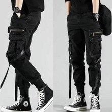 Мужские боковые шаровары с карманами брюки Осенние Хип-хоп повседневные мужские джоггеры с лентами модные уличные брюки черные