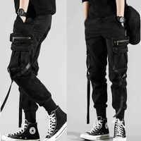 Männer der Seite Taschen Harem Hosen 2019 Herbst Hip Hop Casual Bänder Design Männlichen Jogger Hosen Mode Streetwear Hose Schwarz