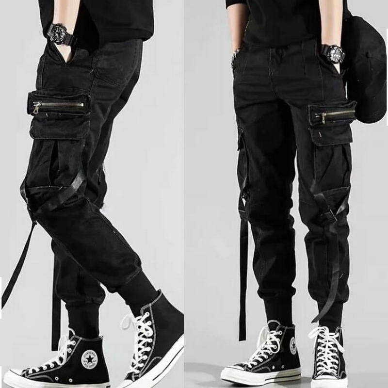Men's Side Pockets Harem Pants 2020 Autumn Hip Hop Casual Ribbons Design Male Joggers Trousers Fashion Streetwear Pant Black