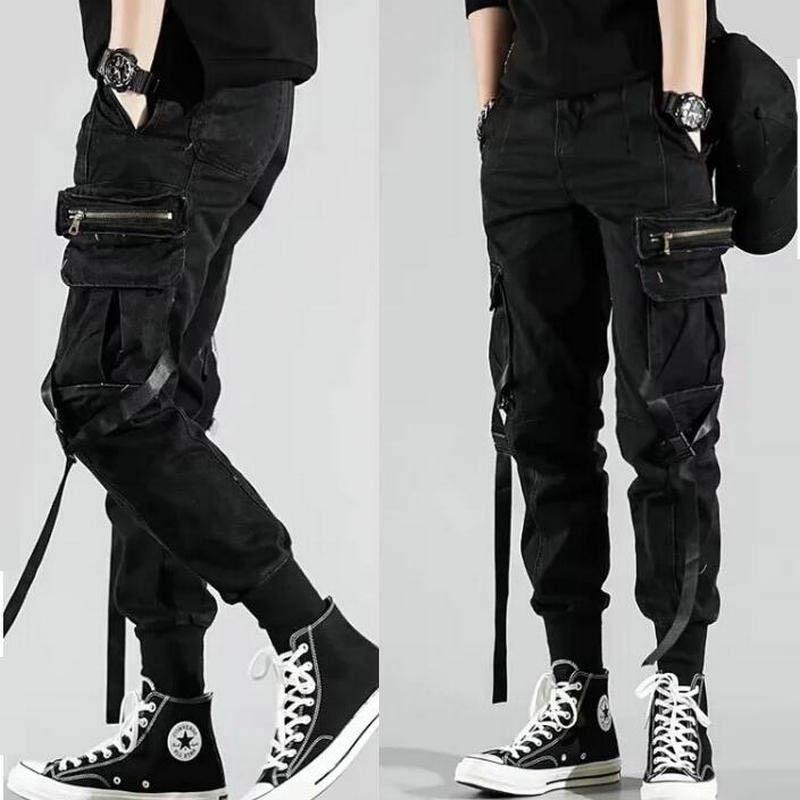 Men's Side Pockets Harem Pants 2020 Autumn Hip Hop Casual Ribbons Design Male Joggers Trousers Fashion Streetwear Pant Black