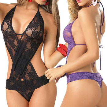 Sexy Ladies Lace Pajamas Harness Perspective Backless Sexy lingerie Uniform Wild Jumpsuit Halter min