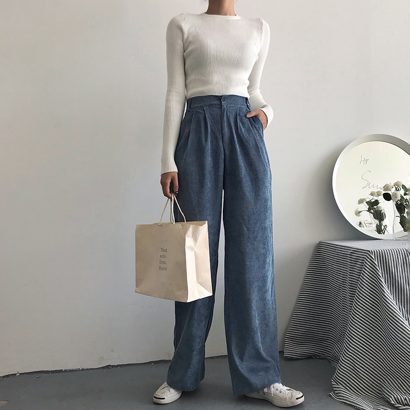 Autunm Corduroy High Waist   Wide     Leg     Pants   Trousers Women Fashion Vintage Black Yellow Blue Straight Long   Pant   Bottoms