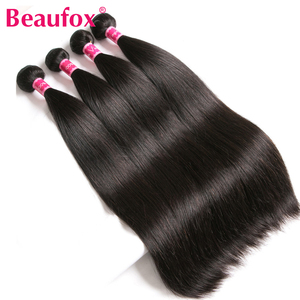 Beaufox Straight Hair Bundles Peruvian Hair 4 Bundles 100% Remy Human Hair Bundles Natural Color/Jet Black Human Hair Extension