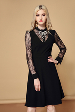 Baogarret Autumn Runway Solid Black Dress vestidos Womens Long Sleeve Floral Lace Patchwork Crystal Bow Elegant