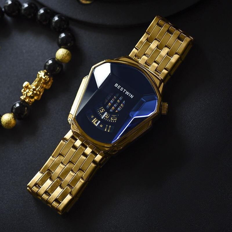 Fashion Cool Locomotive Mens Watches Top Brand Luxury Quartz Gold Wristwatch Men Waterproof Geometri
