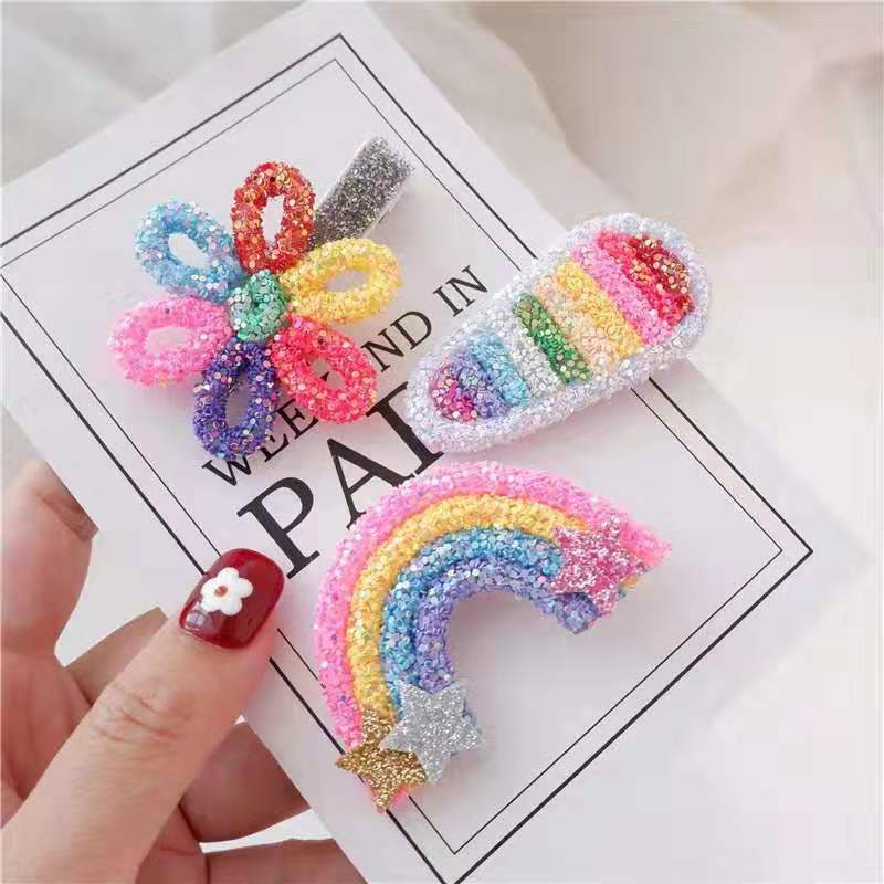 Thumblina Rainbow Flower Hair Clips Sparkly Glitter Hair Bows  For Women Girls Hairpin Children Kids Barrettes Hair Accessories
