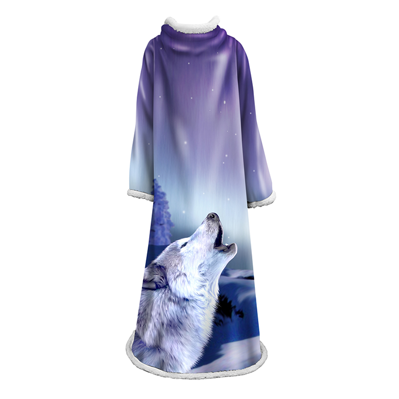 2019 automne nouvelle couverture à manches chaudes adultes enfants loup Animal Sherpa polaire portable jeter couverture hiver paresseux couvertures