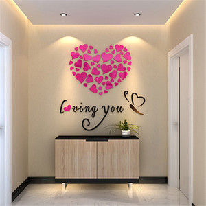 Image 2 - Romantic DIY Art 3D Acrylic Love Heart Wall Stickers Bedroom Living Room wedding decoration wall stickers muraux wallpaper A3086