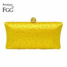 Boutique De FGG Bolso De noche para mujer, elegante, amarillo, con cristales De imitación, para fiesta De boda