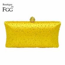בוטיק דה FGG אלגנטי נשים צהוב ערב ארנקי תיק מסיבת חתונת קריסטל מצמד שקיות Rhinestones תיק