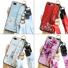 For Xiaomi Redmi Note 7 4X K20 K2O Pro Phone Holder Case Elegant Flower Soft TPU Neck Wrist Strap Lanyard Max 3