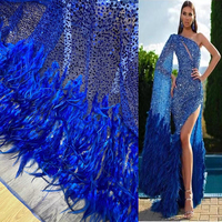 Blue luxury embroidered heavy handmade beaded sequins french net high quality 3D applique mesh tulle lace dress fabric wedding
