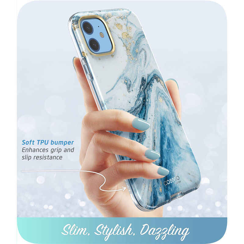 i-Blason For iPhone 11 Case 6.1 inch (2019 Release) Cosmo Full-Body Glitter Marble Bumper Cover with Built-in Screen Protector