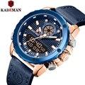 Kademan новые модные повседневные и спортивные часы мужские кожаные водонепроницаемые видимые в ночное время цифровые и кварцевые часы K9073