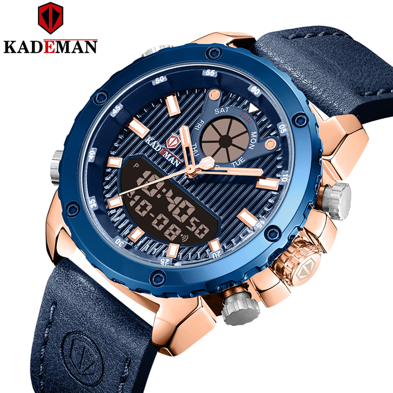 Kademan New Fashional Casual And Sports Watch Men Leather Waterproof Visible In Night Digital And Quartz Watch K9073