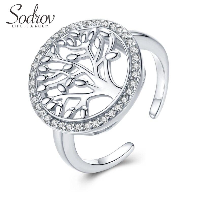 Sodrov شجرة الحياة الزركون حقيقية 925 فضة حجم الحرة المفتوحة للتعديل خواتم الاصبع للنساء بيان مجوهرات الزفاف