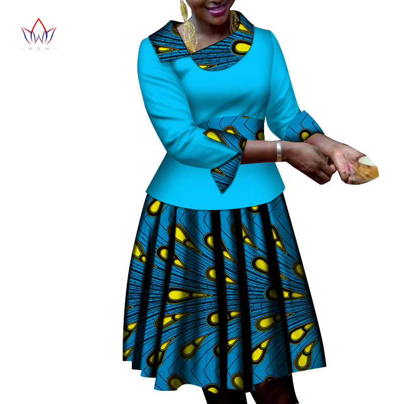 African Women Clothes Long Sleeves Print Tops And Skirt Sets Bazin Riche African Clothing 2 Pieces Customize Skirts Sets WY6530