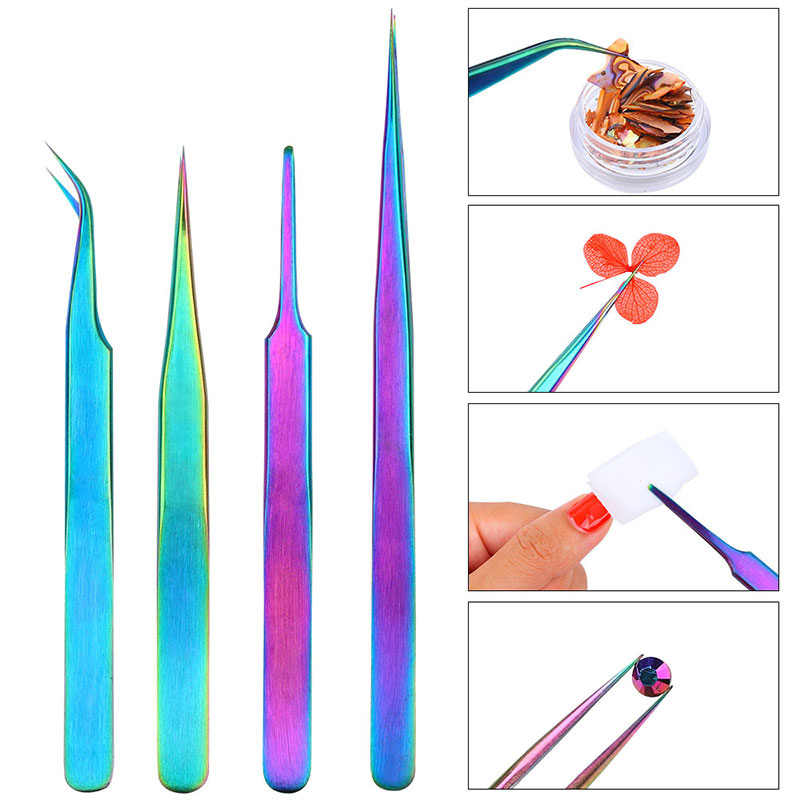 1pcs Stainless Steel Straight Curved  Tweezers Rainbow Colored for Nail Rhinestone and Sticker DIY Nail Art Manicure Tools