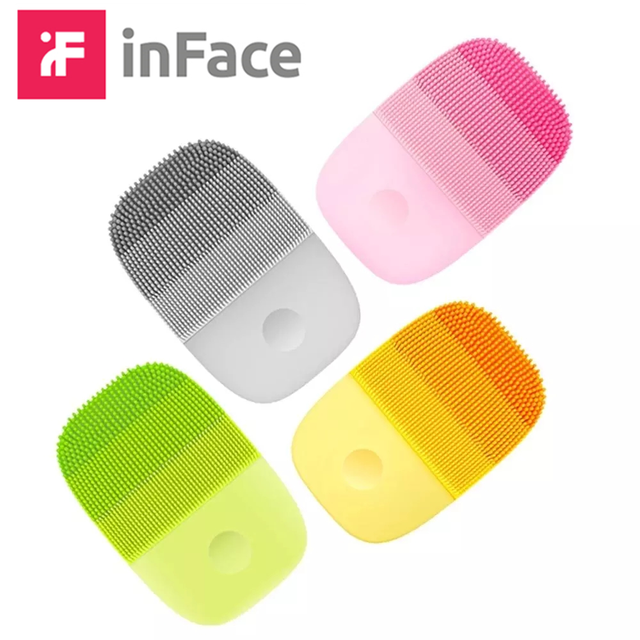 InFace ไฟฟ้าทำความสะอาดใบหน้าแปรงนวด Sonic Face ซักผ้า IPX7 กันน้ำซิลิโคน Face Cleanser รถ