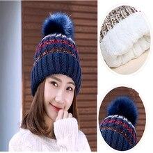 2020 nova malha chapéus de inverno feminino duplo engrossar e quente boné cor misturados beanies lã toque pompons adorável gorro coreano