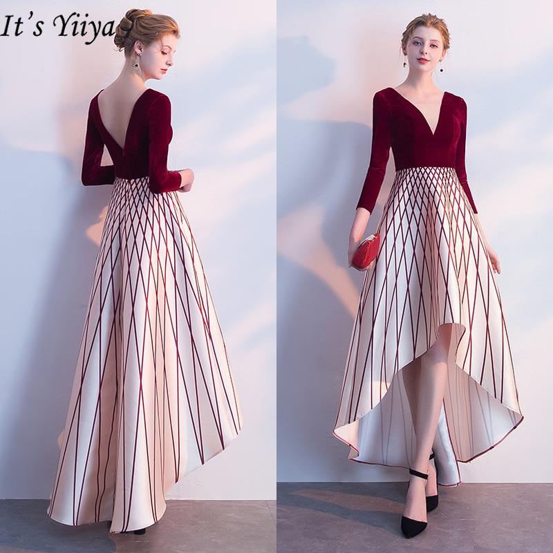 It's Yiiya Evening Dresses 2019 Sexy V-Neck Three Quarter Sleeve Formal Dresses Elegant Luxury Backless Slim Party Dress LX234