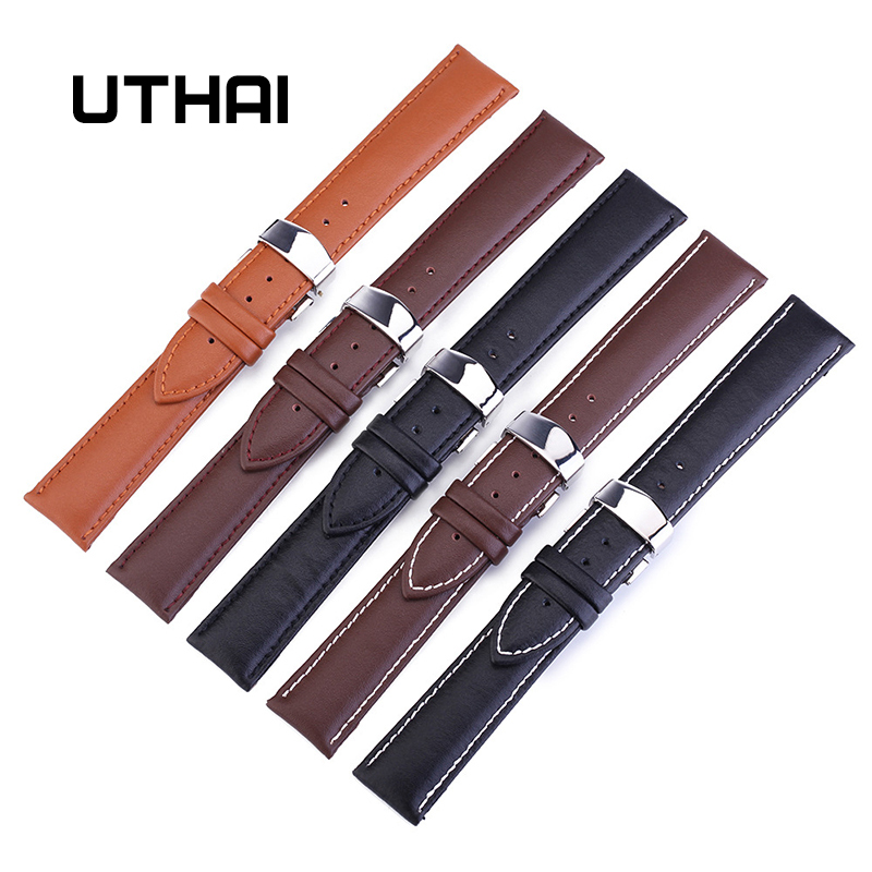 UTHAI Z07 Butterfly Buckle Genuine Leather Straps 12-24mm Watch Accessories High Quality Brown Colors Watchbands
