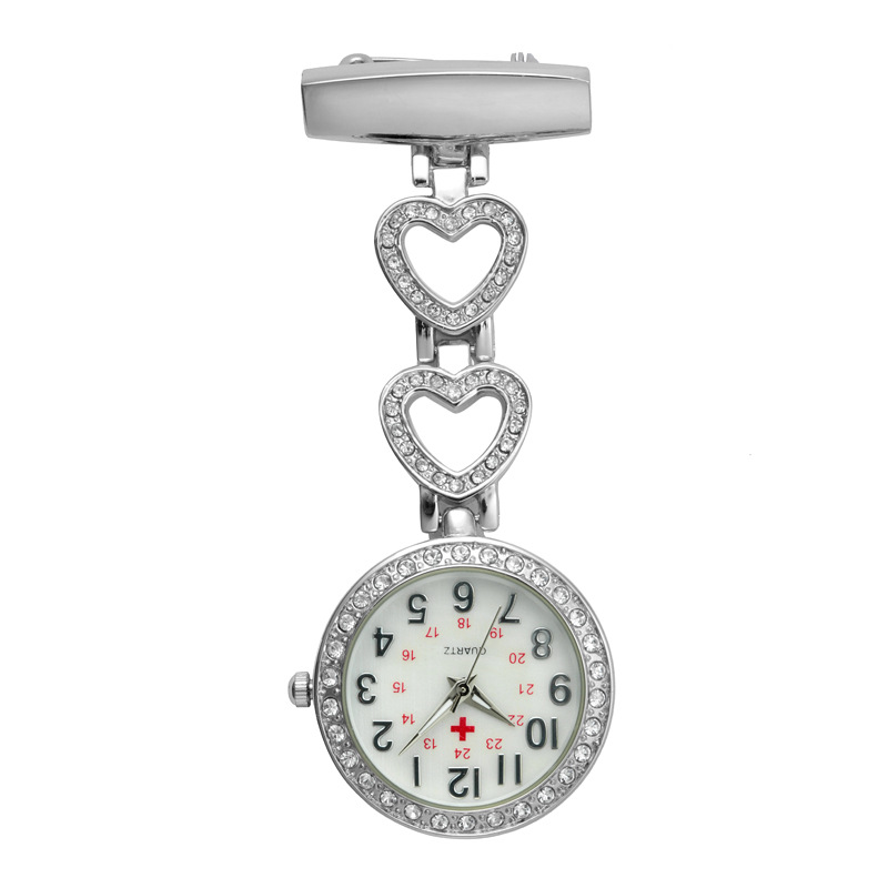 Fashion Pendant Hang Quartz Clock Nurse Watches Women Pocket Watch Clip-on Heart For Medical Doctor Nurse Watches