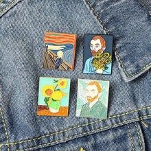 Картина маслом Ван Гог эмаль на булавке заказ крик подсолнечника