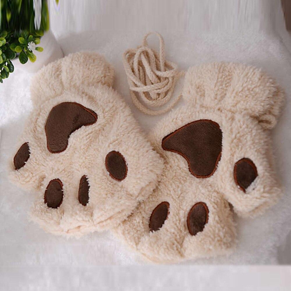 Women Gloves Cute Cat Paw Plush Mittens Warm Soft Plush Short Fingerless Fluffy Bear Cat Gloves Half Finger #YL5