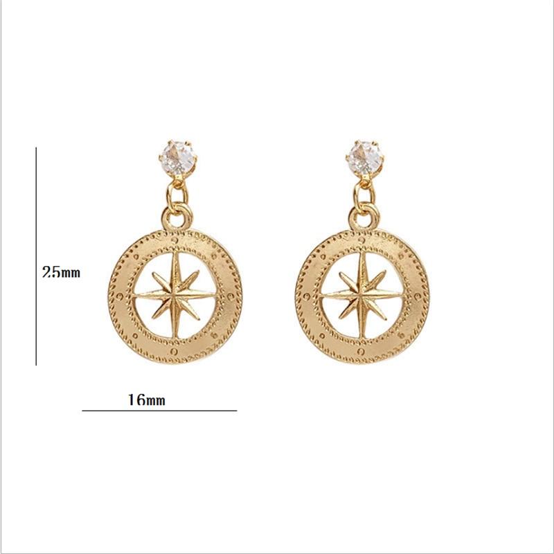 S925 ear-pin Korea temperament simple hollow out eight star earring girls senior sense small earring female