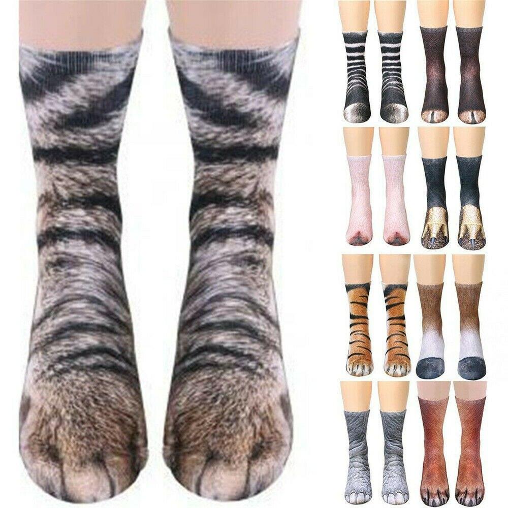 3D Animals Print Socks Women Men Crew Long Socks Dog Horse Zebra Tiger Cat Paw