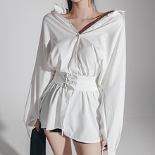 Women Shirt Dress Female Fashion Long Sleeve Belt Bandage Mini Dress
