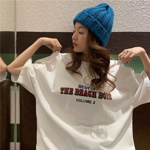 Casual Loose Fashion Basic Letter Printed All Match Oversize College Wind Street Hot Sale Women Female Short Sleeve Top T-shirts 3
