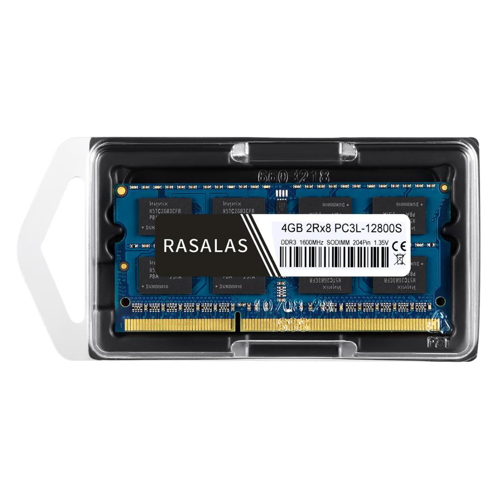 Rasalas 4GB 2Rx8 PC3-12800S DDR3L 1600Mhz SO-DIMM 1,5V 1.35V Low Voltage Notebook RAM 204Pin Laptop Fully Compatible Memory Blue