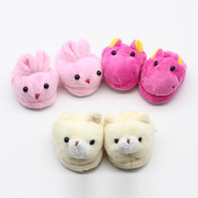 1 Pair Cute Animal Plush Slippers for 43cm Height Girl Doll Pink Rose Red Off-white Toy Shoes Kids Dccessories