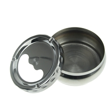Lidded-Ashtray Windproof Cigarette Stainless-Steel Creative Portable Round Silver YYY9613