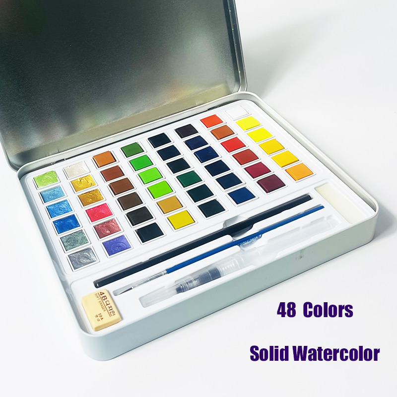 36/48 Pearlescent Color Watercolor Pigment Solid Watercolor Nail Art Metal Painting Set Iron Box