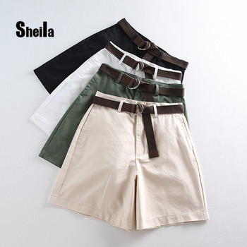 Sheila Shorts All-match 4 Solid Color Sashes Casual Shorts Women A-line High Waist Slim Short Femme Chic S-XXL Ladies Bottom #06 molesworth sheila s mystery