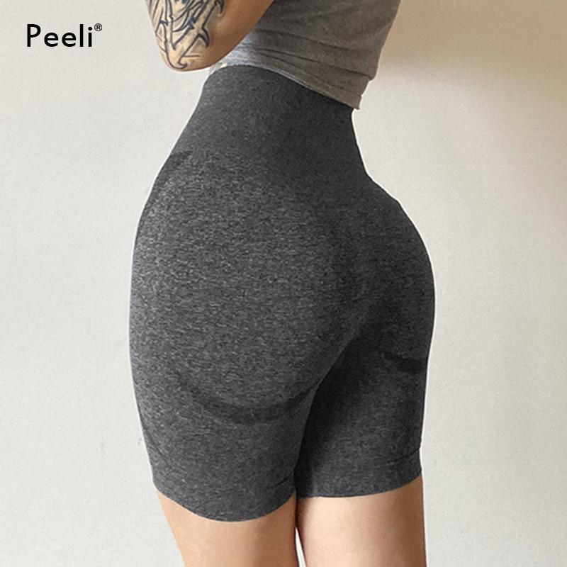 Squat Proof Seamless Sports Short Women High Waist Fitness Gym Short Tummy Control Yoga Shorts Workout Booty Capris Leggings Gym