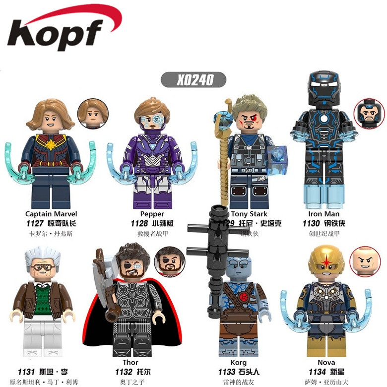 Single Sale Building Blocks Super Heroes Korg Thor Captain Marvel Pepper Korg Action Figures Bricks Gift Toys For Children X0240